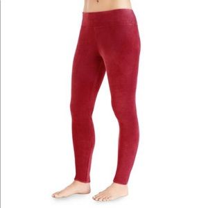 Cuddl Duds Size S Red Double Plush Velour Leggings